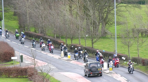 Heading out of Mauchline at the start of the Easter Egg Run. (2006)