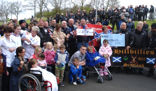 Cheques for the Children's Unit from Hillbillies MCC and Ayrshire Bikers MCC. (2012)